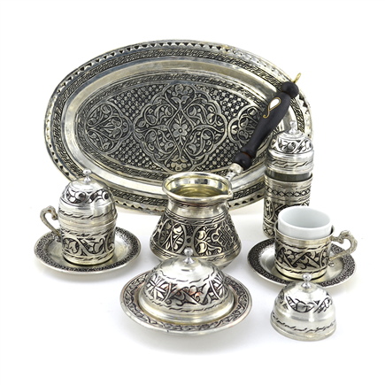 Gaziantep Design Turkish Coffee Set for Two w/Tray