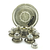 Gaziantep Design Turkish Coffee Set for Six - Nickelized