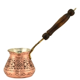Engraved Turkish Coffee Pot - Red Copper with Inlay-ed Handle