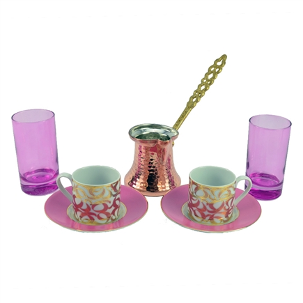 Turkish Coffee Set for Two with Pink Water Glass