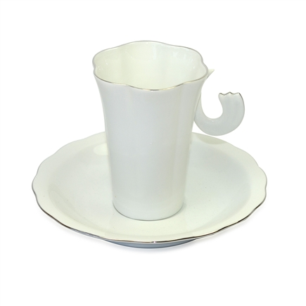 Turkish Coffee Cup & Saucer - Modern (White) - Large