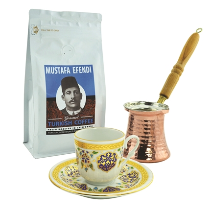 Turkish Coffee Set for One with Mustafa Efendi Gourmet Turkish Coffee - Armor