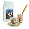 Turkish Coffee Set for One with Mustafa Efendi Gourmet Turkish Coffee - Blue & Gold
