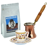 Turkish Coffee Set for One with Mustafa Efendi Gourmet Turkish Coffee - Carnation