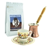 Turkish Coffee Set for One with Mustafa Efendi Gourmet Turkish Coffee - Tulip I