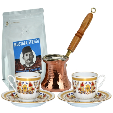 Turkish Coffee Set for Two with Mustafa Efendi Gourmet Turkish Coffee - Tulip I