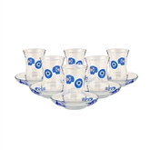 Pasabahce Tea Glasses with Evil Eye - Set of 6