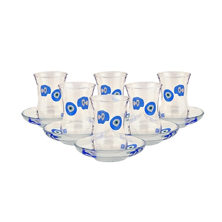 Turkish Tea Cups with Eye Bead Set of Six