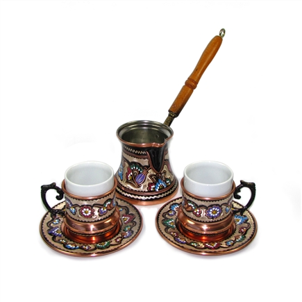 Turkish Coffee Set for Two - Double Size (6 oz). Hand made ...