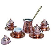 Turkish Coffee Set for Four with lids