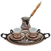 Turkish Coffee Set for Two with Oval Tray