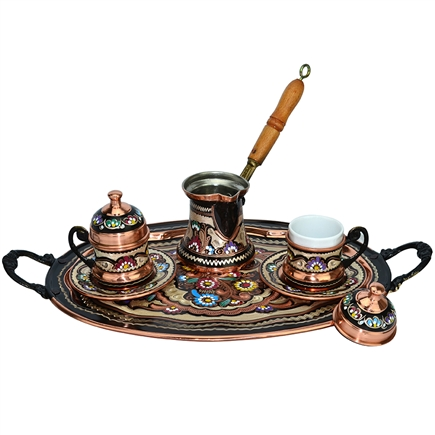 Turkish Coffee Set for Two with Lids and Oval Tray