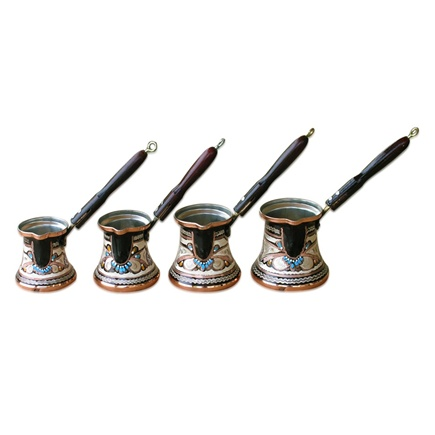 Set of four Decorated Turkish Coffee Makers