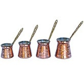 Set of 4 Stamped Turkish Coffee Makers
