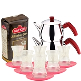 Turkish Tea Set with 6 Glasses - Pink & White