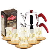 Turkish Tea Set with 6 Glasses - Gold