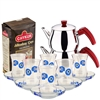 Turkish Tea Set with 6 Glasses -  With Eyes