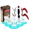Turkish Tea Set with 6 Glasses - Turquoise