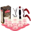 Turkish Tea Set with 6 Glasses - Red Hearts