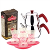 Turkish Tea Set with 4 Glasses - Red Hearts