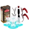 Turkish Tea Set with 4 Glasses - Turquoise