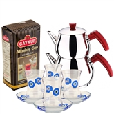 Turkish Tea Set with 4 Glasses - With Eyes