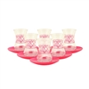 Turkish Tea Glasses - Set of Six - with Red Hearts