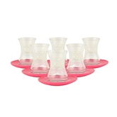 Turkish Tea Glasses - Set of Six - Pink & White