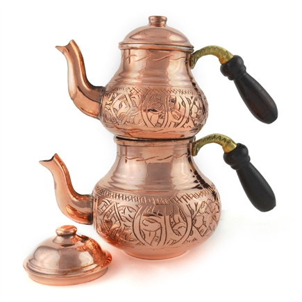 Engraved Turkish Tea Pot - Natural Copper - Large