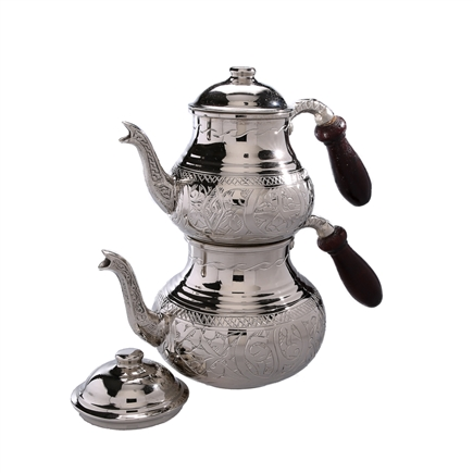 Engraved Turkish Tea Pot - Nickelized Copper