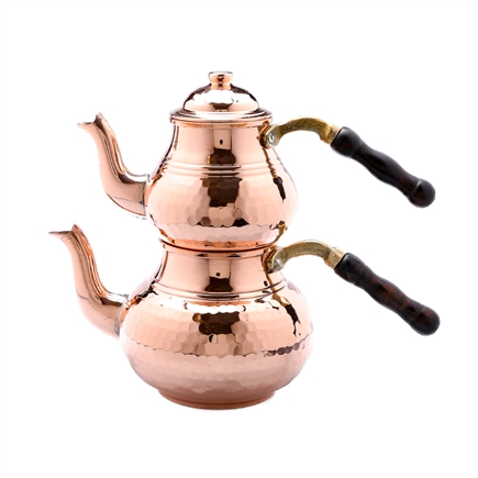 Hammered Turkish Tea Pot - Natural Copper