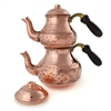 Stamped Turkish Tea Pot - Natural Copper - Large