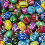 Hand painted wooden Easter eggs from Poland with beautiful floral patterns. Polish pisanki are so colorful and the detail is amazing. These eggs are solid and sturdy and will last for generations