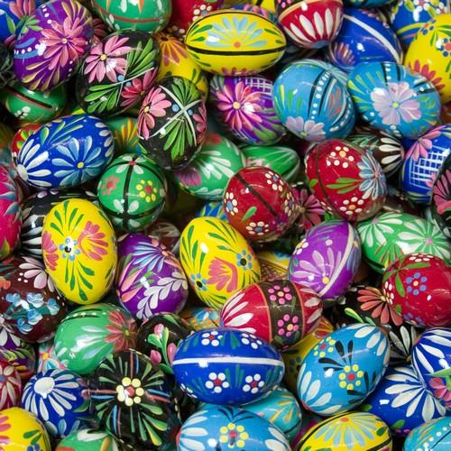 Polish Art Center Wooden Easter Eggs Polish Pisanki Floral Design 1