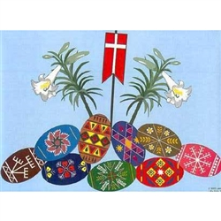 "Celebrate the Easter season with these beautiful placemats. These original designs will make any table festive with their beautiful eggs, lilies, and resurrection flag. Size is 14"" x 10"""