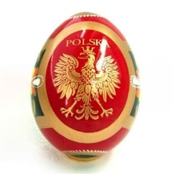 These beautiful wooden eggs are hand painted on one side and feature a Polish Eagle applique on the other side.