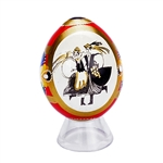 Hand painted In Poland these beautiful wooden eggs are hand painted on one side and feature an applique of a Polish Dancer couple on the other side. Assorted colors on the reverse.