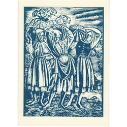 Girls with Baskets of Potatoes Note Card - 1928 woodcut print by Wladyslaw Skoczylas. During the twenty interwar years, when Poland briefly existed as an independent nation, there was a great upsurge of interest in the country's cultural folk traditions