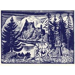 Podhale Landscape Note Card - 1915 woodcut print by Wladyslaw Skoczylas. Wladyslaw Skoczylas (pronounced Vwha-di-swhav Sko-chi-lahs) was born in Wieliczka, Poland in 1883. He moved to the Podhale/Tatra Mountain region of southern Poland, and became an in