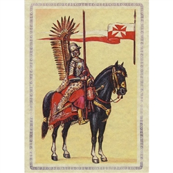 The hussar cavalryman had two feathered attachments to the back of his armor. This decorative effect came to Poland from the East. Turkish crack light cavalry painted their shields with wings, as did those from Hungary.