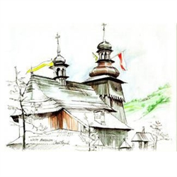 This sketch of the church of St. John the Apostle & Evangelist was made during Pope John Paul II's first trip home to his native Poland after his election to the papacy in 1978-hence the Polish and Papal flags adorning the steeples.