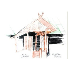 Sketch of a cottage in the village of Gostkowo in the Kurpie region of eastern Poland.