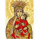 This is a stylized rendering of the legendary painting of the Polish Madonna of Czestochowa which is enshrined in the chapel of the Jasna Gora monastery. According to tradition, it was painted by St. Luke on a tabletop made by St. Joseph.