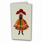 This card is dressed with material and wooden head to give a very special doll-like effect.