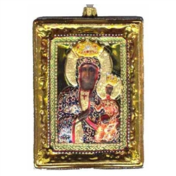 "Hand painted and decorated glass blown icon ornament is enhanced with glitter and a gold finish. The back and sides are finished in a gold and silvered frame. The back has a white window inscribed with ""Our Lady of Czestochowa"" This exquisite icon ornamen"