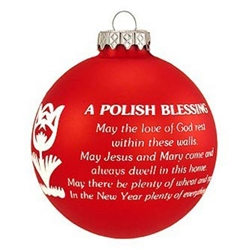 Polish Blessing Ornament - Red