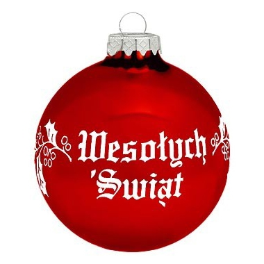 Polish Christmas Greeting Ornament Wesolych Swiat Red