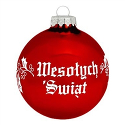 Polish Christmas Greeting Ornament - Wesolych Swiat Red