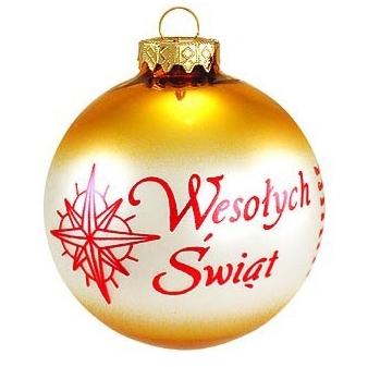 Polish Art Center - Polish Christmas Greeting - Wesolych Swiat Gold