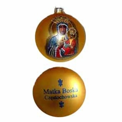 Our Lady of Czestochowa is painted on this matte gold ornament and studded with glitter.